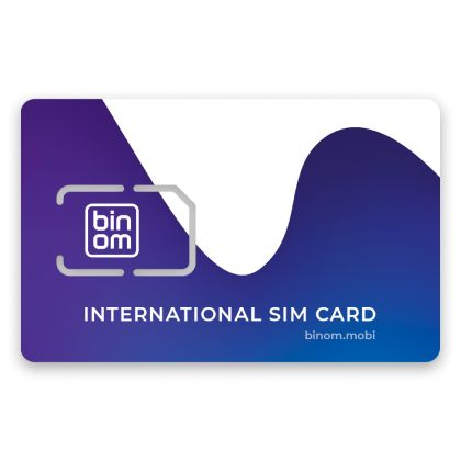 """Binom travel"" SIM card with 20 USD credit included"
